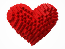 Heart Shaped Data Block. Made With Red Cubes. 3d Pixel Style Vector Illustration.
