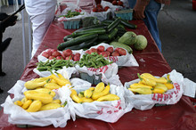 Shoppers At Roadside Produce S...