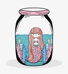 mermaid woman with seaweed plants inside jar