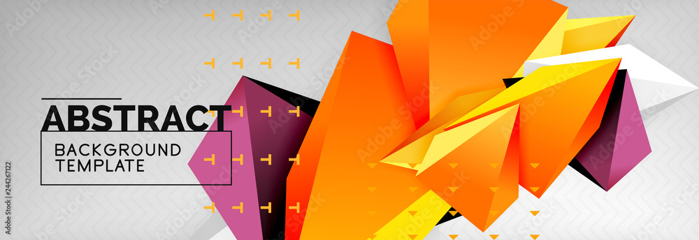 Fototapeta Bright colorful triangular poly 3d composition, abstract geometric background, minimal design, polygonal futuristic poster template