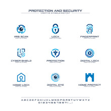 Protection And Security Creative Symbols Set, Font Concept. Home, People Secure Abstract Business Logo. Safe Lock, Padlock Shield Icon