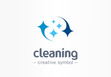 Sparkle Star, Fresh Smile Creative Symbol Concept. Wash, Glare, Laundry, Cleaning Company Abstract Business Logo. Housekeeping, Shine, Cleaner Icon