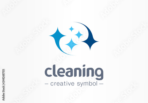 Obraz Sparkle star, fresh smile creative symbol concept. Wash, glare, laundry, cleaning company abstract business logo. Housekeeping, shine, cleaner icon - fototapety do salonu