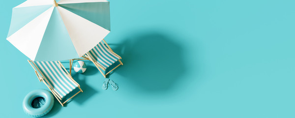Top view Beach umbrella with chairs and beach accessories on blue background. summer vacation concept. 3d rendering