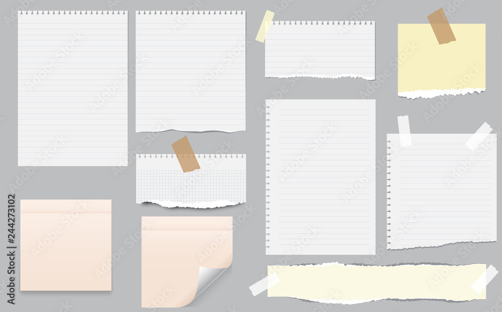 Fototapeta White and colorful note, notebook paper with torn edges stuck on gray background. Pink sheets of note papers, sticky notes