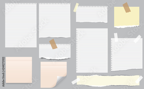 Obraz White and colorful note, notebook paper with torn edges stuck on gray background. Pink sheets of note papers, sticky notes - fototapety do salonu