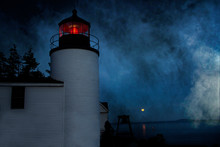 Bass Harbor Head Lighthouse On A Foggy Night In Bass Harbor Maine