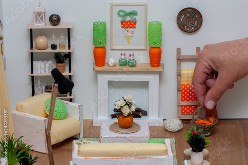Valokuvatapetti Lovely light dollhouse interior, Living room with white rustic furniture and bri