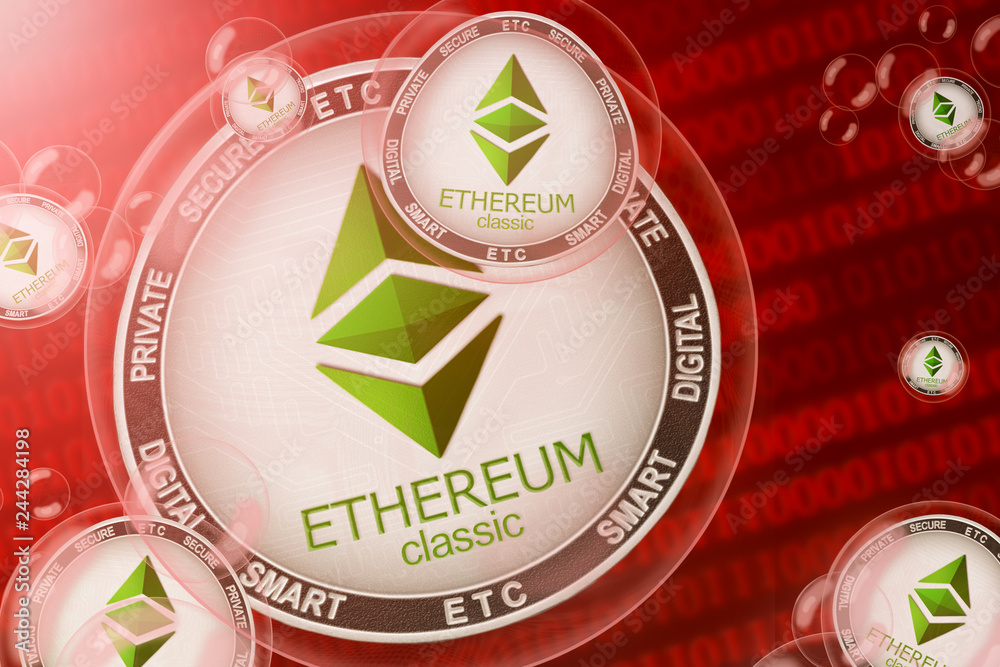 Fototapeta Ethereum classic crash; ethereum classic (ETC) coins in a bubbles on the binary code background. Close-up.