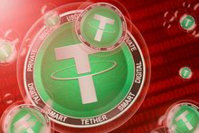 Tether Crash; Tether (USDT) Coins In A Bubbles On The Binary Code Background. Close-up.