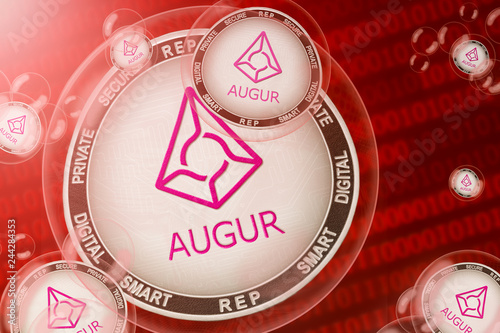 Augur crash; Augur (REP) coins in a bubbles on the binary code background Canvas Print