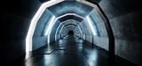 Fototapeta Fototapety do przedpokoju - Sci Fi Oval Arc Shaped Alien Empty Long Grunge Concrete Tiled Reflective Floor Corridor Tunnel Hall With Blue Lights Futuristic Dark 3D Rendering