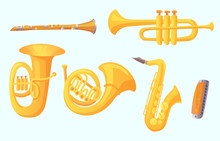 Cartoon Trumpet. Winds Musical Instruments. Music Instrument Vector Collection