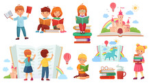 Kids Reading Book. Cartoon Child Library, Happy Kid Read Books And Book Stack Isolated Vector Illustration