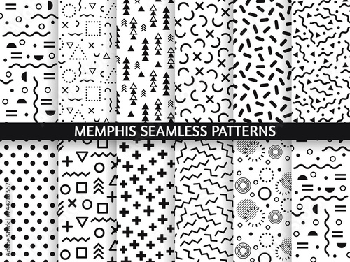 Fototapeten Künstlich Memphis seamless patterns. Funky pattern, retro fashion 80s and 90s print pattern texture. Geometric graphics style textures vector set