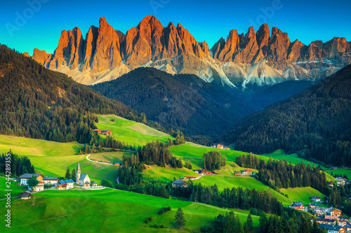 Beautiful spring landscape with Santa Maddalena village, Dolomites, Italy, Europe
