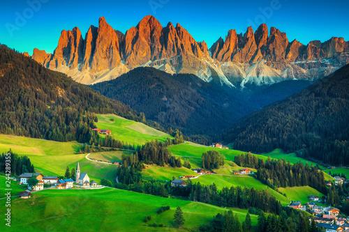 Beautiful spring landscape with Santa Maddalena village, Dolomites, Italy, Europe