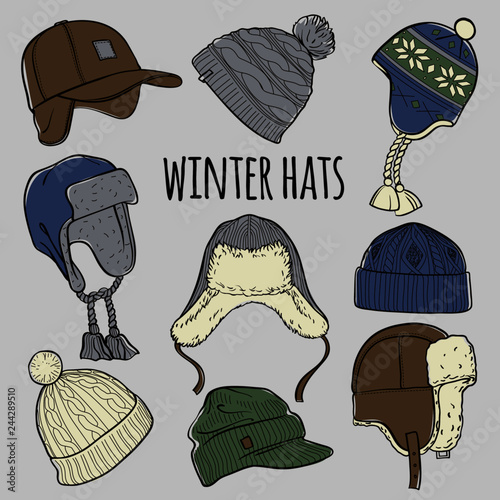 d73f4400bf3 Set of 9 winter colored caps and hats sketches  baseball cap