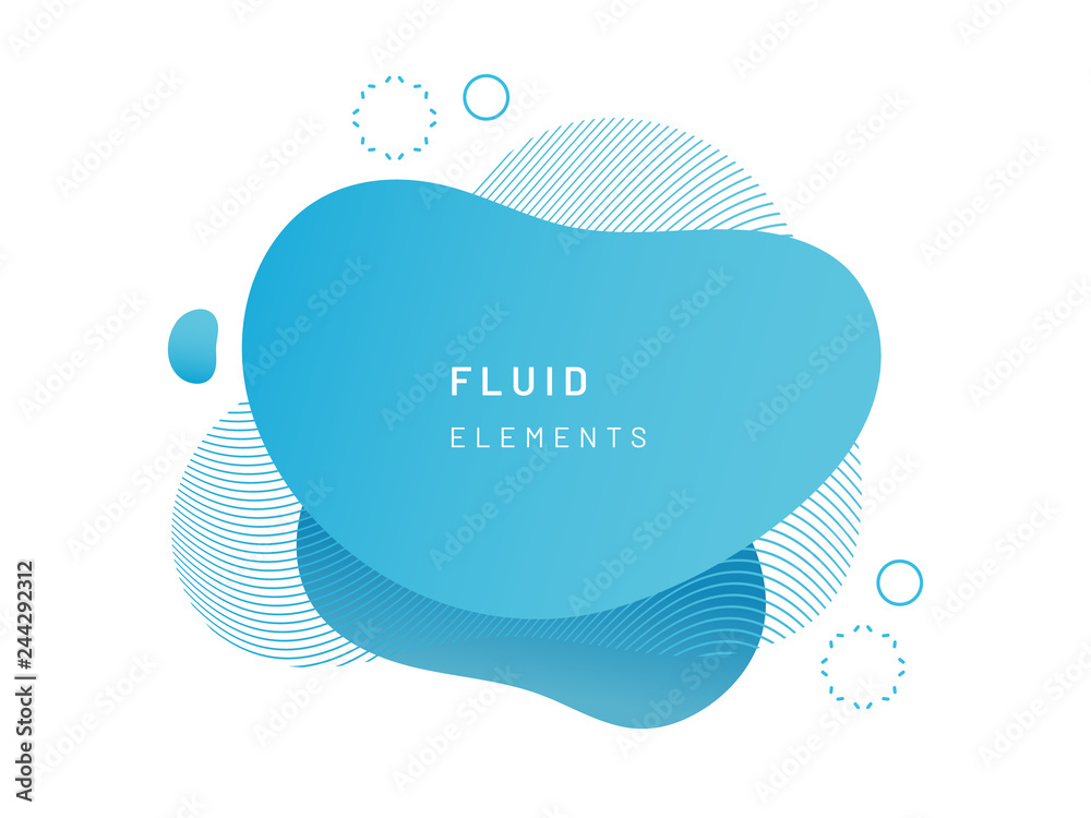 Fototapeta Blue fluid blob for card background. Azure liquid stain in dynamic color. Free geometrical shape for flyer. Cerulean aqua blotch with wavy lines. Abstract gradient banner template