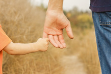 Beautiful Hands Of A Happy Child And Parent In The Nature Park