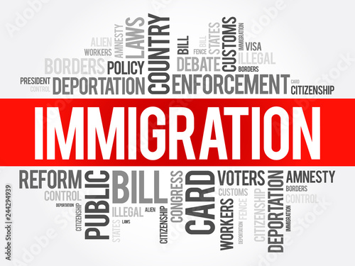 Photo Immigration word cloud collage , social concept background