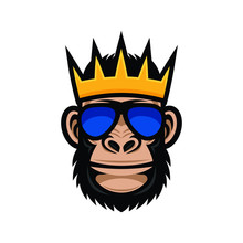 Cool Monkey In Sunglasses And Crown