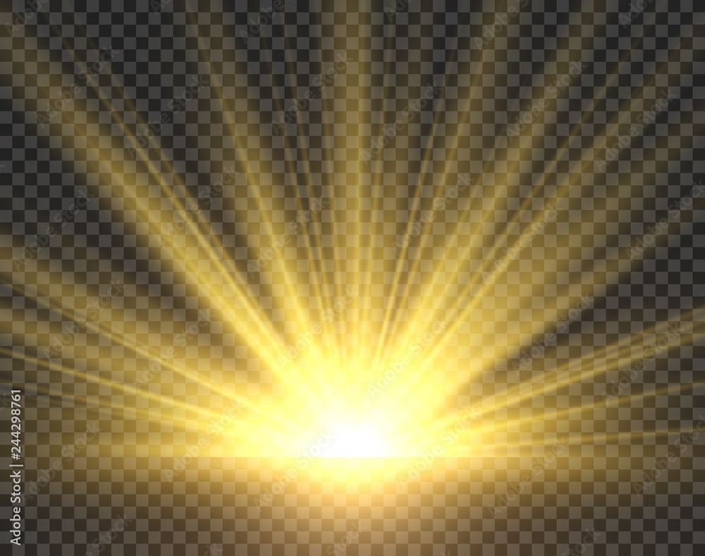 Fototapeta Sunlight isolated. Golden sun rays radiance. Yellow bright spotlight transparent sunshine starburst vector illustration