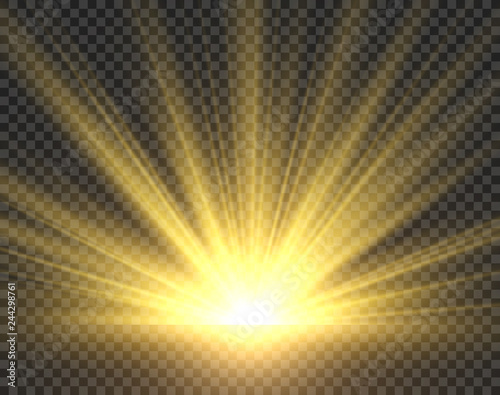 Fototapeta Sunlight isolated. Golden sun rays radiance. Yellow bright spotlight transparent sunshine starburst vector illustration obraz