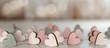 canvas print picture - Banner für Valentinstag, Verlobung, Hochzeit, Muttertag, mit kleinen Holzherzen