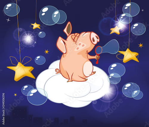 Foto op Plexiglas Babykamer Vector Illustration of a Cute Pig. Cartoon Character