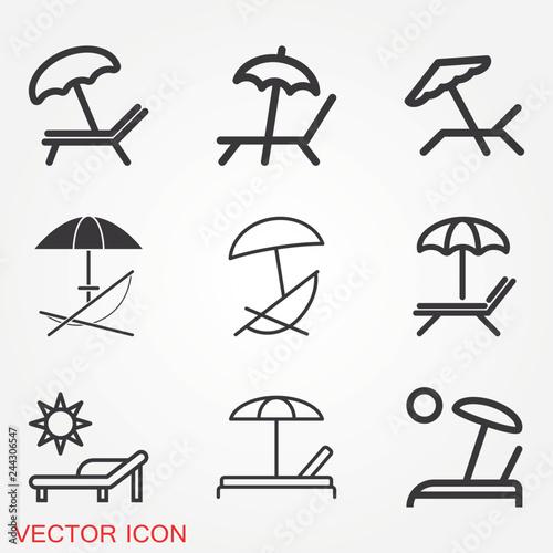 Fotografía Chaise lounge icon logo, illustration, vector sign symbol for design