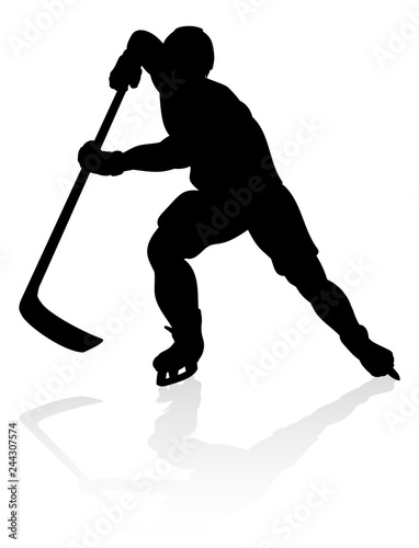Photo  A detailed silhouette hockey player sports illustration