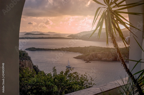 British Virgin Islands Caribbean Sunset Sailboat Canvas Print