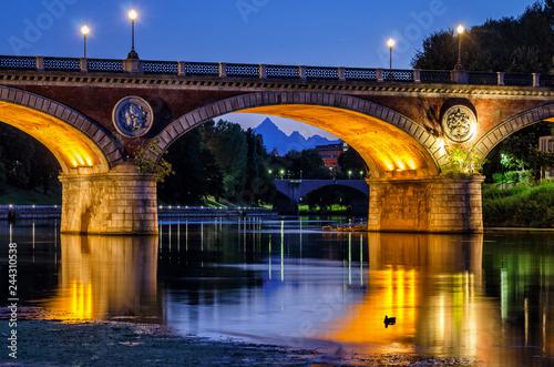 Fototapeta Turin (Torino), Isabella Bridge and Monviso at twilight.jpg
