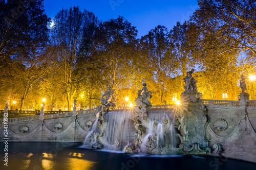 Fotografie, Obraz  Turin Fontana dei dodici mesi at moonlight