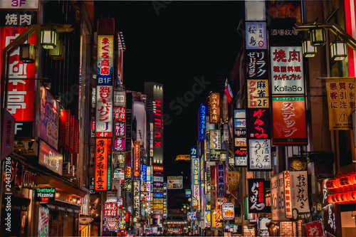 Colorful neon advertisement boards, Kabukicho Shinjuku, Tokyo, Japan Wallpaper Mural