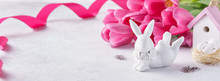 Cute Bunny, Pink Tulips, Toy H...