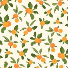 Orange Tangerine Mandarin Clementine Green Leaves Seamless Pattern On Beige Background. Organic Bio Healthy Food.