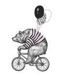 Koszulka z balonem rowerowym Bear Ride. Rocznik maskotki zabawy grizzly cyklu Śliczny rower Odizolowywający na bielu. Czarny tatuaż zwierzęcy charakter czarny szkic. Zarys grunge miś płaski wektor ilustracja - 244322366