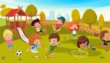 Kids Play Park Playground Vect...
