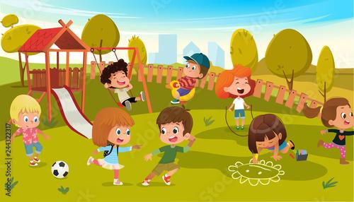 Kids Play Park Playground Vector Illustration. Children Swing Outdoor in Summer School Kindergarten. City Landscape Background. Boy and Girl Cartoon Character Activity Equipment