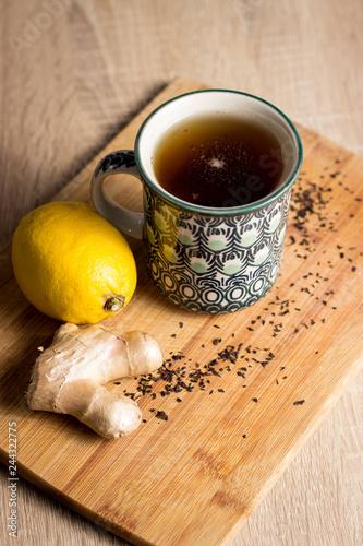 Fototapeta Hot tea with lemon and ginger obraz