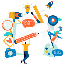 Design Studio, Designing, Drawing, Photographing, Videography, Graphic Design, Education, Creativity, Art, Ideas Flat Vector Illustration. Online Courses, Tutorials For Mobile And Web Graphics