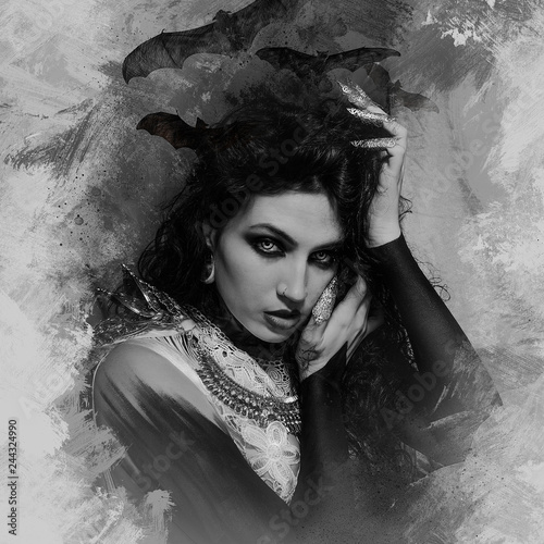 draw vampire, demonic woman dressed in white lace and silver jewelry Canvas-taulu