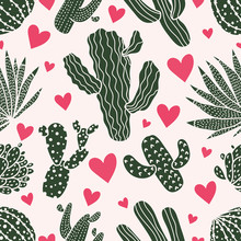 Cute Cactus. Colorful Seamless Pattern.