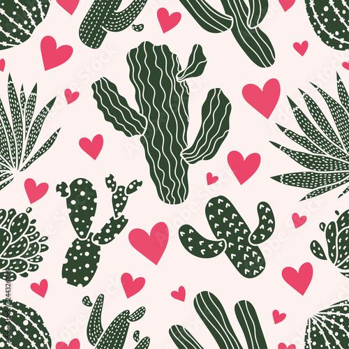 Fototapeten Künstlich Cute cactus. Colorful seamless pattern.