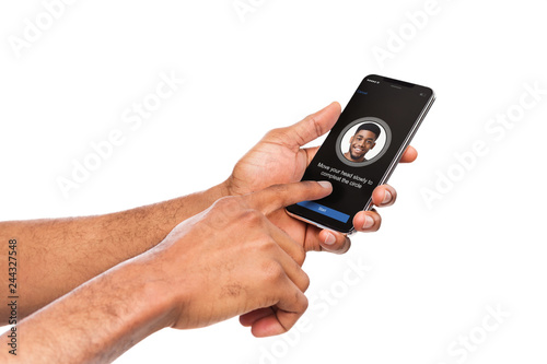 Photo  Face Identification with software scanning face on smartphone