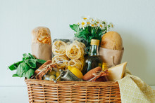 Italian Food Basket With Bread...