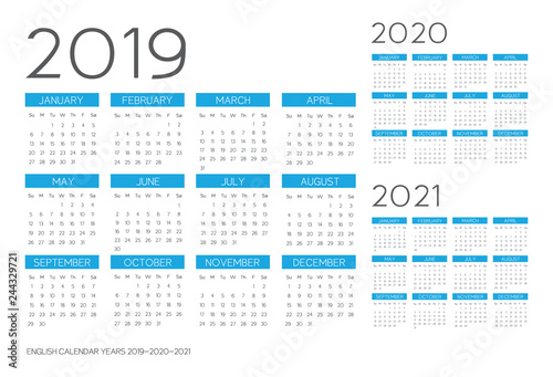 Fényképezés  English Calendar 2019-2020-2021 vector