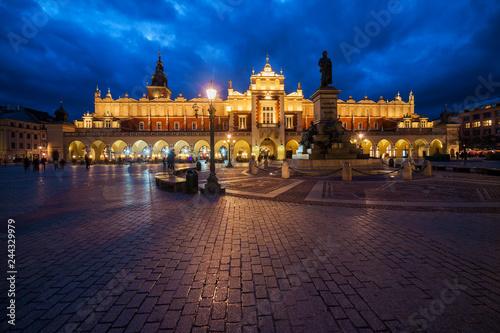 Fototapeta Krakow Main Square at Night in Poland obraz